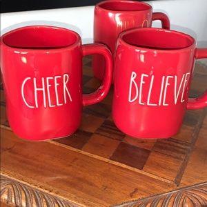 Rae Dunn BELIEVE red mug, new